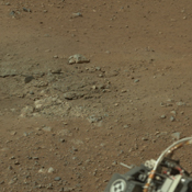 This cropped image from NASA's Curiosity rover shows one set of marks on the surface of Mars where blasts from the descent-stage rocket engines blew away some of the surface material.