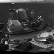 This 360-degree image shows a complete, full-resolution panorama around NASA's Curiosity rover. The pointy rim of Gale Crater can be seen as a lighter strip along top right of the image. The base of Mount Sharp can be seen along top left.