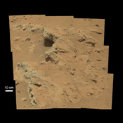 NASA's Curiosity rover found evidence for an ancient, flowing stream on Mars at a few sites, including the rock outcrop pictured here, which the science team has named 'Hottah' after Hottah Lake in Canada's Northwest Territories.