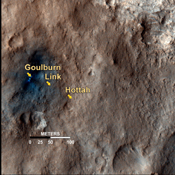 This map shows the path on Mars of NASA's Curiosity rover toward Glenelg, an area where three terrains of scientific interest converge. Arrows mark what appears to be an ancient Martian streambed.