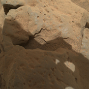 This focus-merge image from the Mars Hand Lens Imager (MAHLI) on the arm of NASA's Mars rover Curiosity shows a rock called 'Burwash.' The rock has a coating of dust on it. The coarser, visible grains are windblown sand.