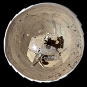 This self-portrait of NASA's Mars Exploration Rover Spirit is a false color polar projection of the 360-degree 'McMurdo' panorama made from images taken by Spirit from April through October 2006.