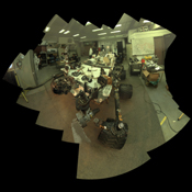 Camera and robotic-arm maneuvers for taking a self-portrait of the NASA Curiosity rover on Mars were checked first, at NASA's Jet Propulsion Laboratory in Pasadena, Calif., using the main test rover for the Curiosity.