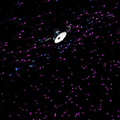 This image from a set of animations show NASA's Voyager 1 spacecraft exploring a new region in our solar system called the 'magnetic highway'.