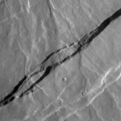The fractures in this image are part of the large fracture system that surrounds Alba Mons as seen by NASA's 2001 Mars Odyssey spacecraft.