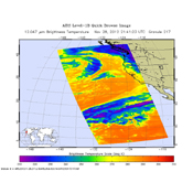 NASA's Aqua spacecraft captured this infrared image of the first of a series of storms approaching the Pacific Northwest at 2141 UTC (1:41 p.m. PST) on Nov. 28, 2012, marking the beginning of an 'atmospheric river' event.