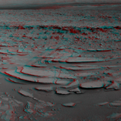 This stereo panoramic view combines 14 images taken by NASA's Mars rover Curiosity during the mission's 120th Martian day, or sol (Dec. 7, 2012). You need 3D glasses.