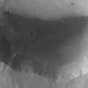 This image from NASA's 2001 Mars Odyssey spacecraft shows sand dunes on the floor of an unnamed crater near Meridiani Planum.