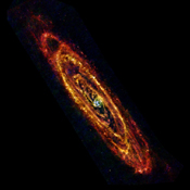 In this new view of the Andromeda, also known as M31, galaxy from the Herschel space observatory, cool lanes of forming stars are revealed in the finest detail yet. M31 is the nearest major galaxy to our own Milky Way at a distance of 2.5 million light-ye