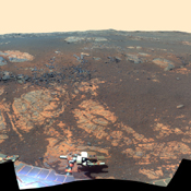 This false color image from NASA's rover Opportunity takes a look at Matijevic Hill, an area within the 'Cape York' segment of Endeavour's rim where clay minerals have been detected from orbit.