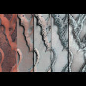 The HiRISE camera on NASA's Mars Reconnaissance Orbiter snapped this series of pictures of sand dunes in the north polar region of Mars. Each panel shows ice cracks releasing dark sand as spring progresses.