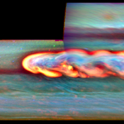 This mosaic of false-color images from NASA's Cassini spacecraft shows what a giant storm in Saturn's northern hemisphere looked like about a month after it began. The bright head of the storm is on the left.