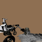This frame from an animation of NASA's Curiosity rover shows the complicated suite of operations involved in conducting the rover's first rock sample drilling on Mars and transferring the sample to the rover's scoop for inspection.