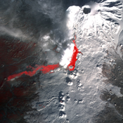 Plosky Tolbachik volcano in Russia's far eastern Kamchatka peninsula erupted on Nov. 27, 2012, for the first time in 35 years, sending clouds of ash to the height of more than 9,800 feet (3,000 meters) in this image from NASA's Terra spacecraft.