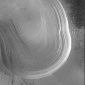 This image from NASA's 2001 Mars Odyssey spacecraft shows the multitude of layers making up the South Polar cap.