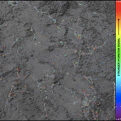 On this image of the rock target 'Knorr,' color coding maps the amount of mineral hydration indicated by a ratio of near-infrared reflectance intensities measured by the Mastcam on NASA's Mars rover Curiosity.