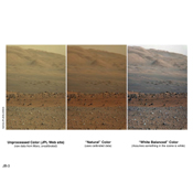 These three versions of the same image taken by the Mast Camera (Mastcam) on NASA's Mars rover Curiosity illustrate different choices that scientists can make in presenting the colors recorded by the camera.