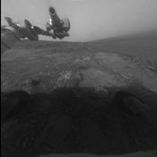 These two images, taken five Martian days (sols) apart by the front hazard-avoidance camera on NASA's Mars Exploration Rover Opportunity, document the Martian sky above the rover's Endeavour Crater location becoming dustier.