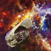 Artist's impression of Herschel is set against an image captured by the observatory, showing baby stars forming in the Rosette nebula. The bright spots are dusty cocoons containing massive forming stars, each one up to ten times the mass of our own sun.
