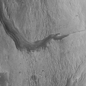 This image from NASA's Mars Odyssey spacecraft shows the westward continuation of the channel from yesterday's image. Note how the channel widens as it moves downslope (to the west).