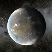 The artist's concept depicts Kepler-62f, a super-Earth-size planet in the habitable zone of a star smaller and cooler than the sun, located about 1,200 light-years from Earth in the constellation Lyra.
