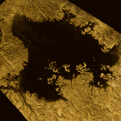 Ligeia Mare, shown in here in data obtained by NASA's Cassini spacecraft, is the second largest known body of liquid on Saturn's moon Titan. It is filled with liquid hydrocarbons, such as ethane and methane.