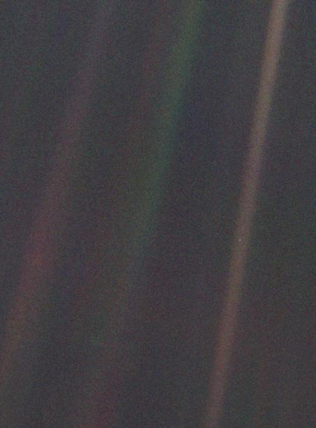 The blue dot Earth by Voyager 1
