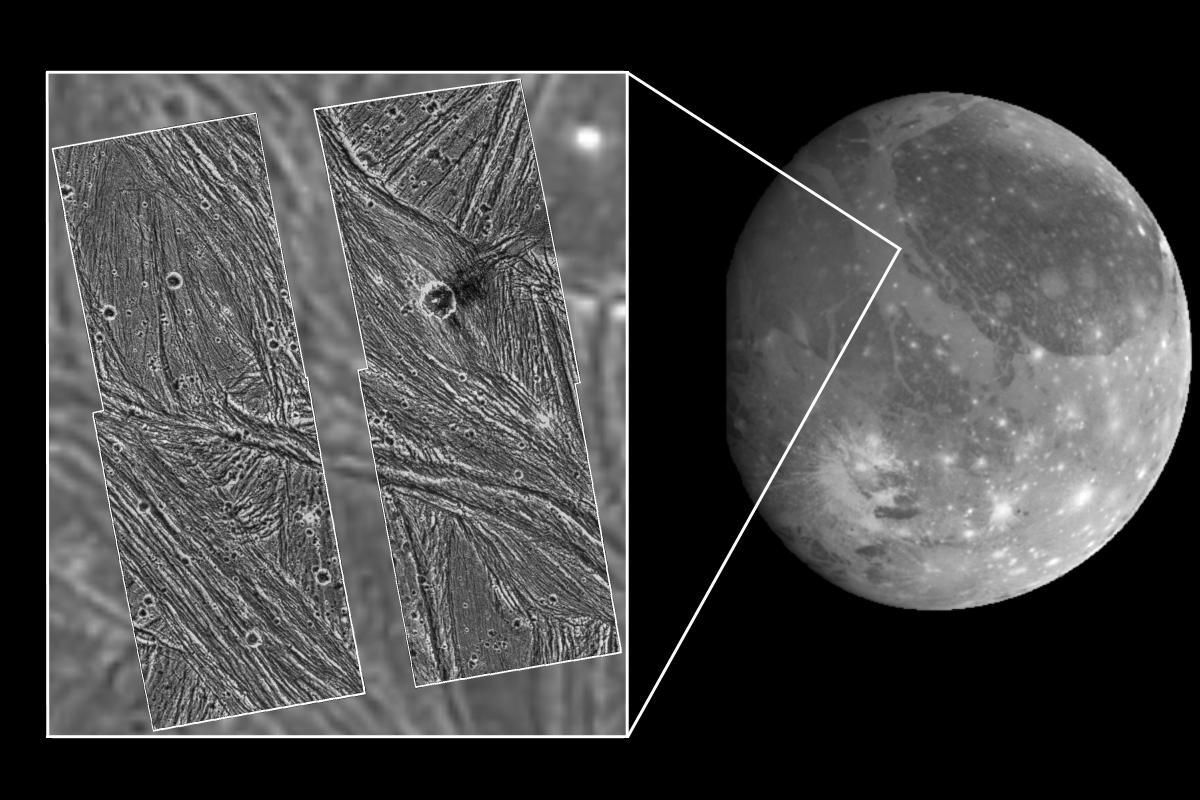 Ganímedes y un detalle de Uruk Sulcus visto desde la Galileo - NASA/JPL