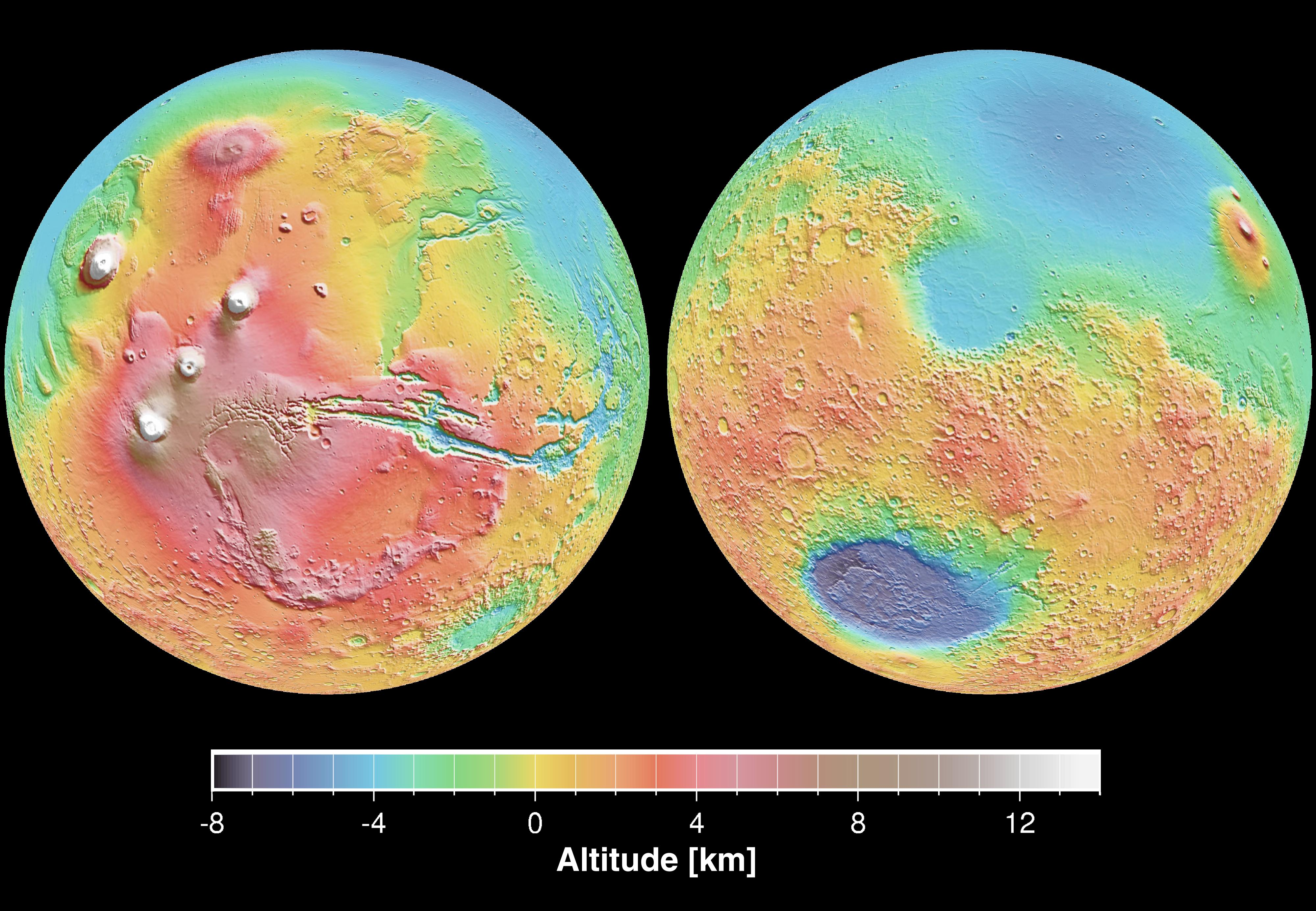 Space Images Mars Topography - Altimeter map