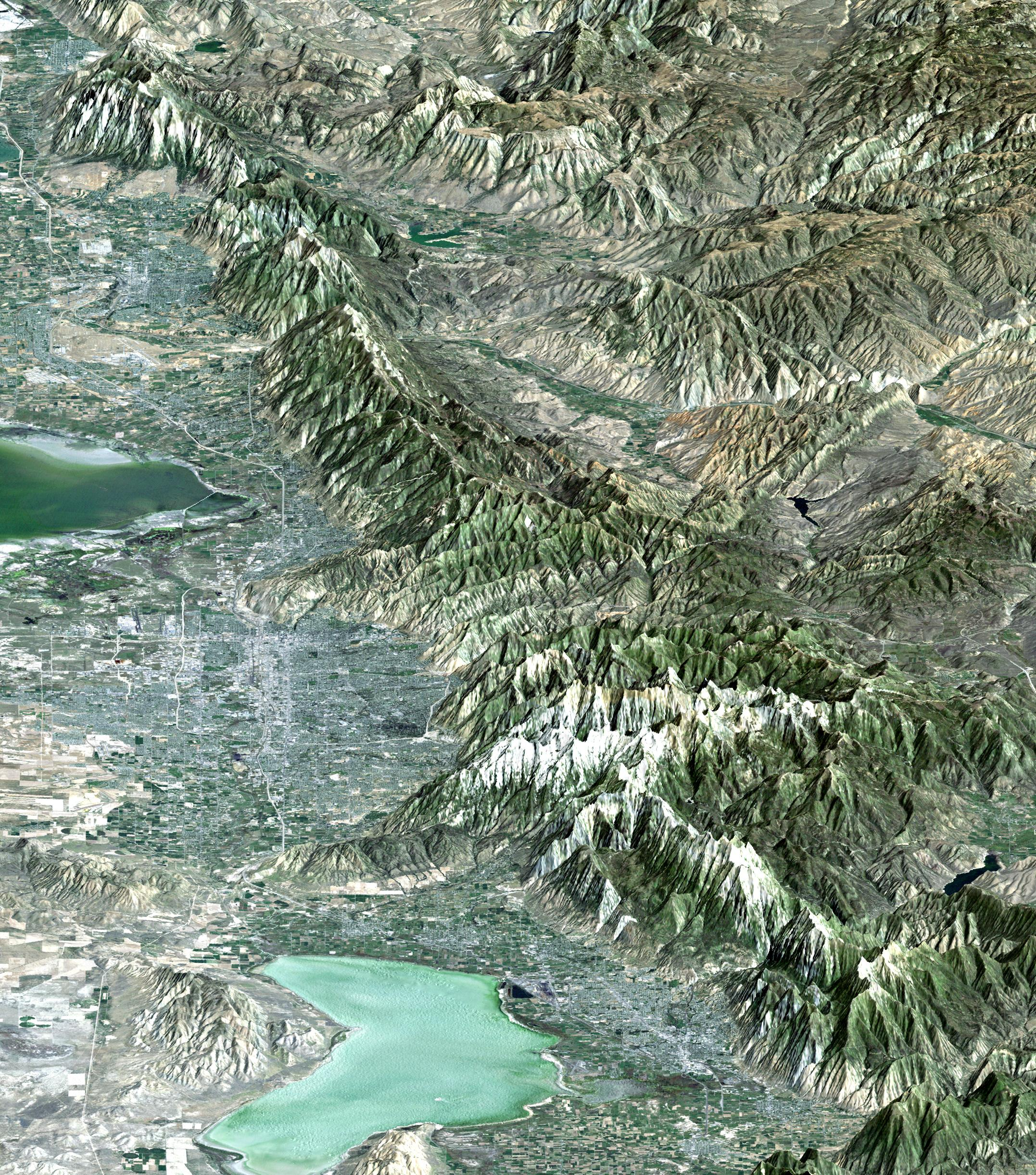 Space Images | Perspective View with Landsat Overlay, Salt Lake City