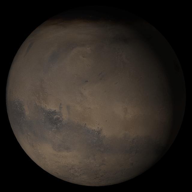 Область Элизий на общем виде поверхности виде Марса.