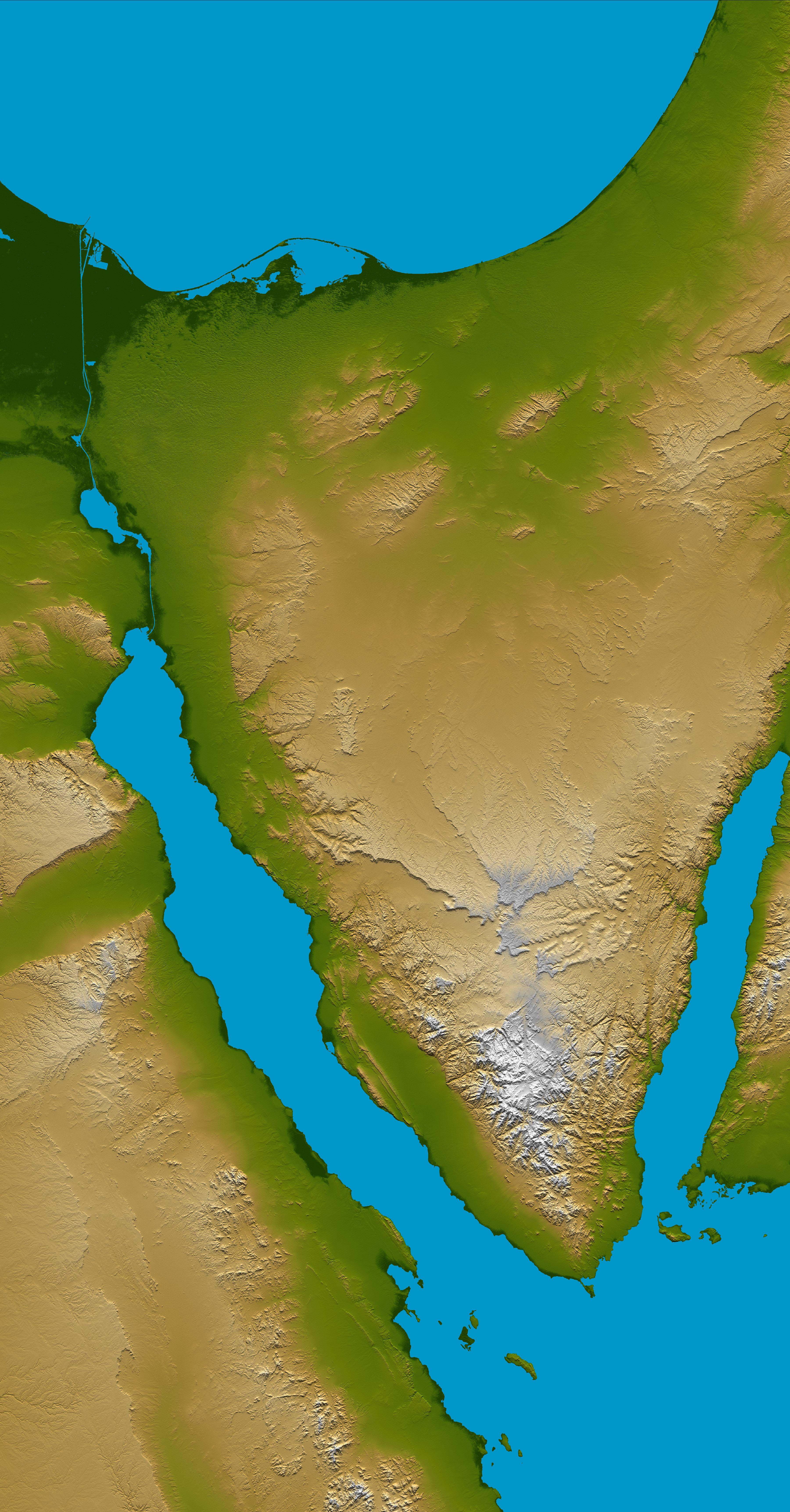 Space images sinai peninsula shaded relief and colored height image details gumiabroncs Image collections