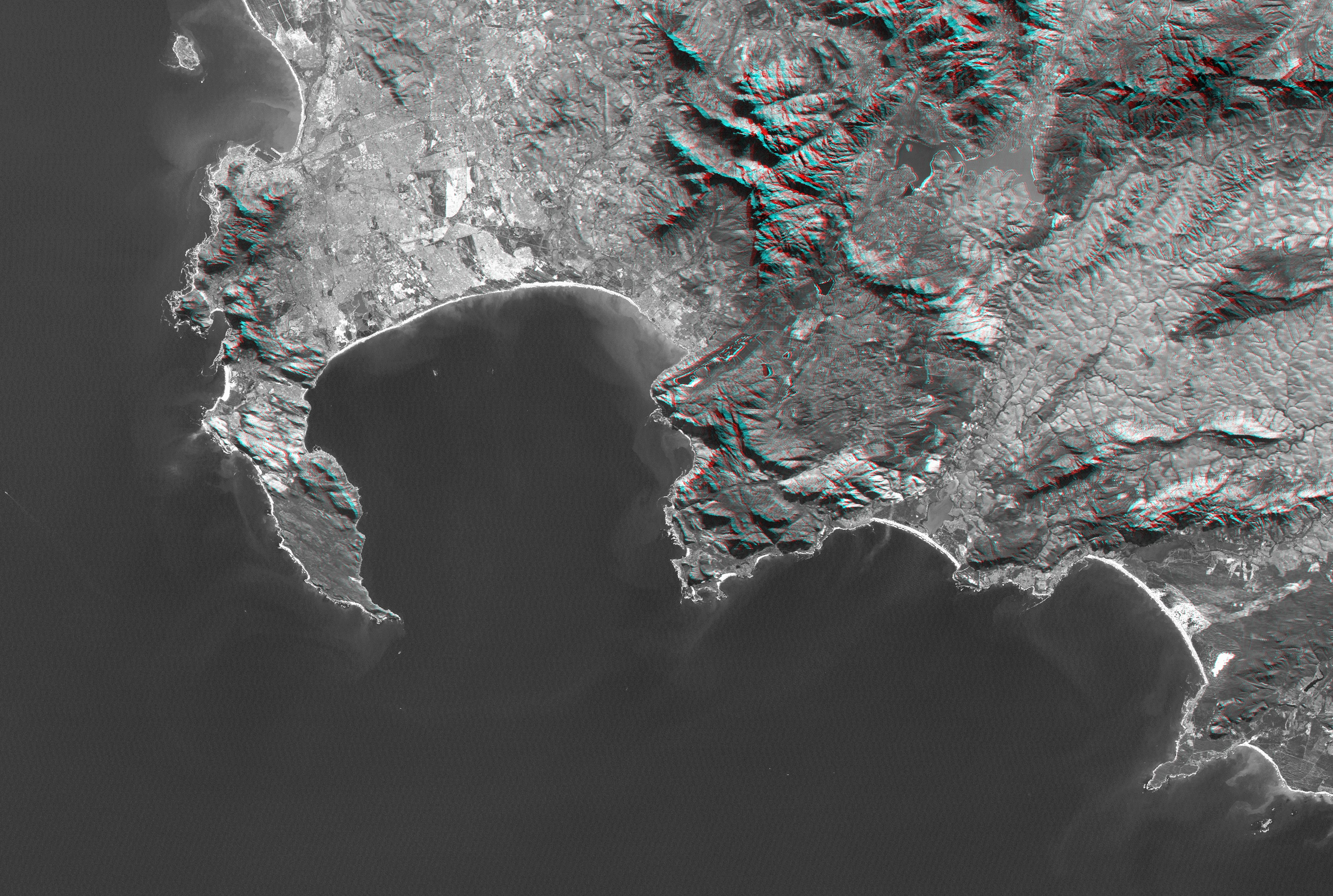 Space Images Cape Town South Africa Anaglyph Landsat Image - Satellite height map