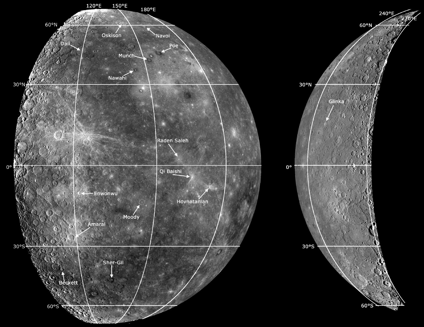 planetary names 15 millionscale maps of mercury - HD 1760×1356