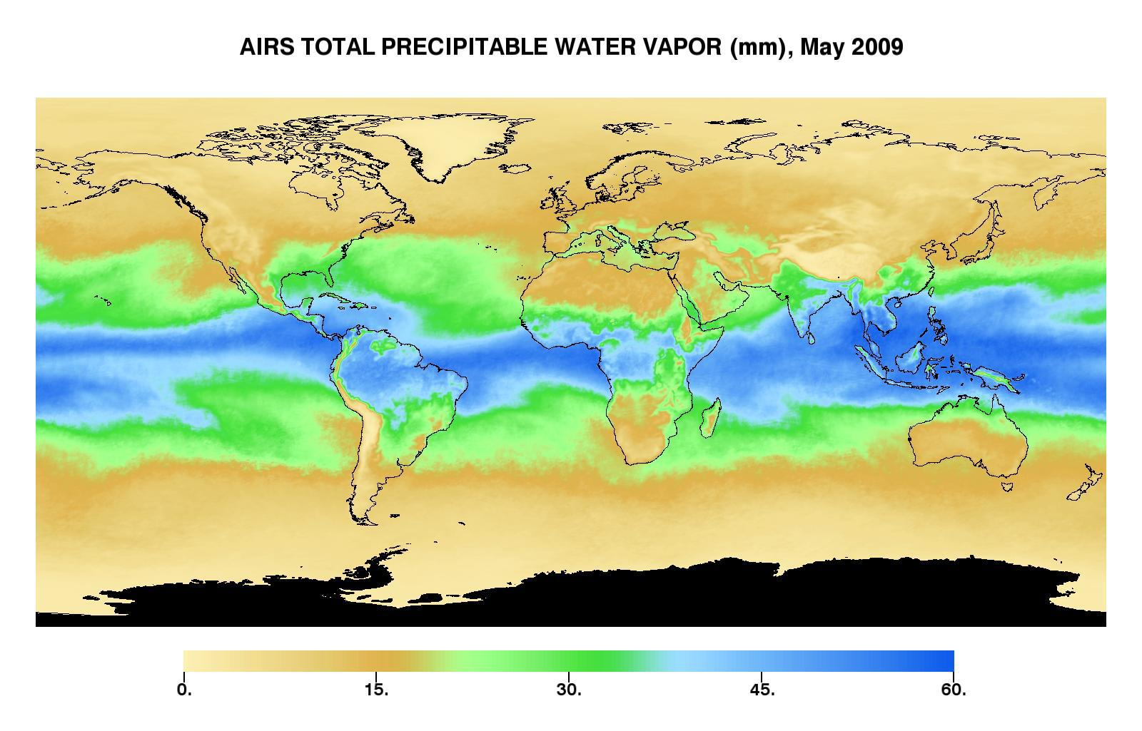 Water Vapor Map Space Images | Global Total Precipitable Water Vapor for May 2009