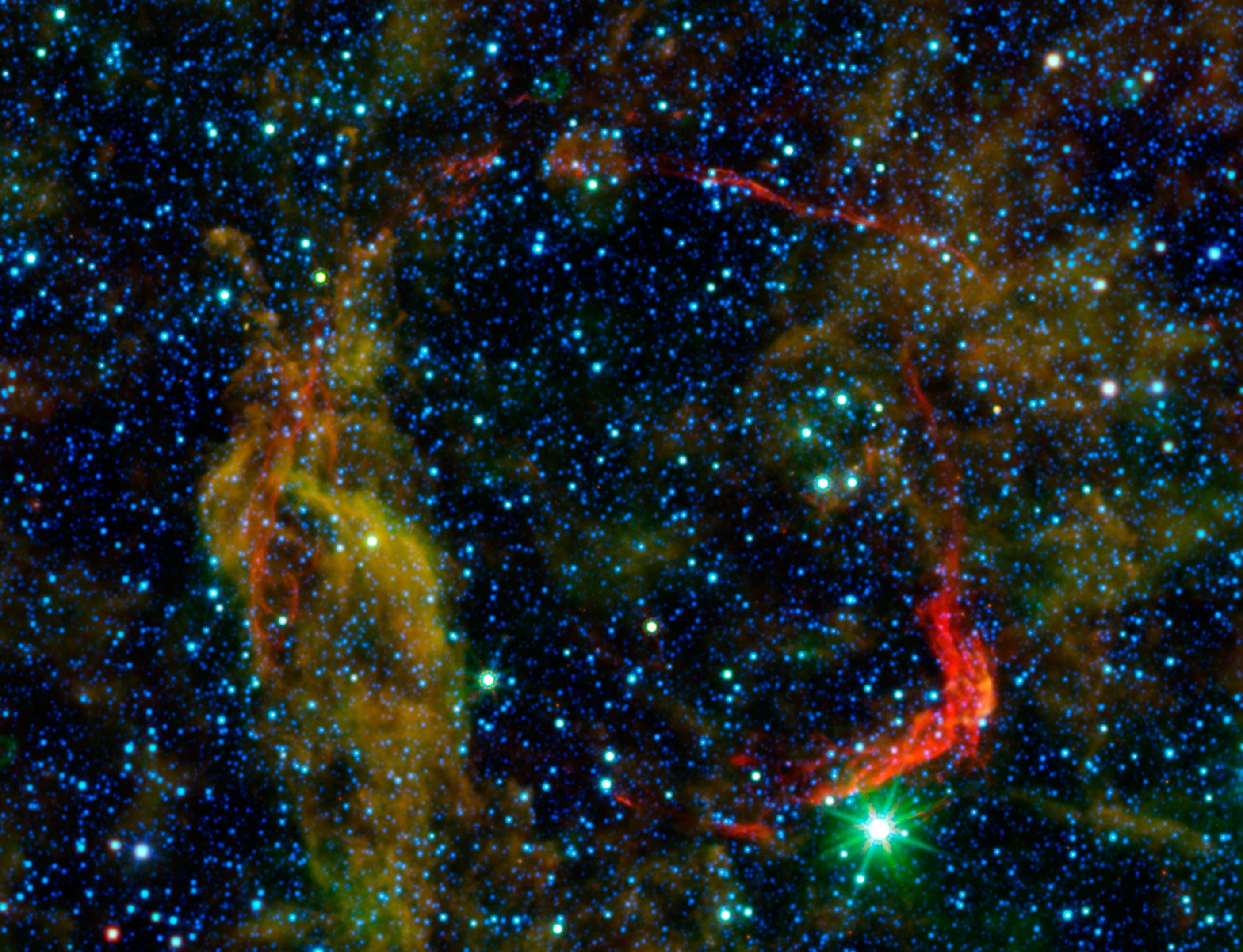 Infrared images from NASAu0027s Spitzer Space Telescope and Wide-field Infrared Survey Explorer are combined