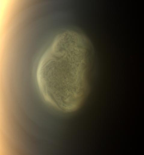 Titan's polar vortex in color