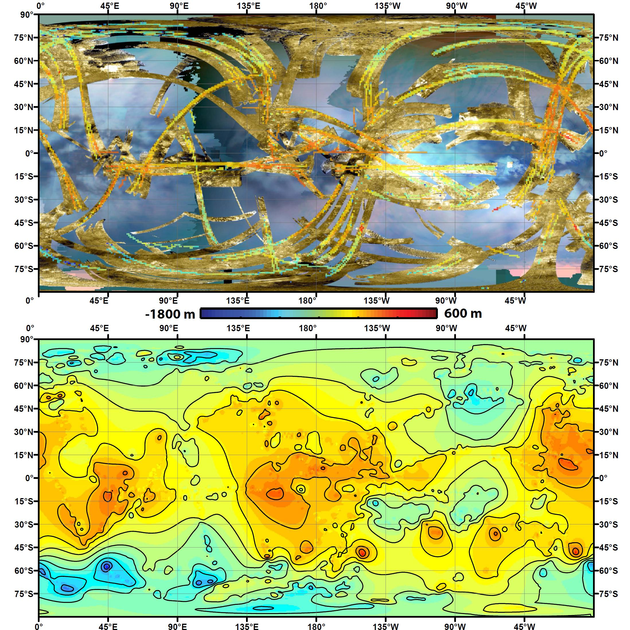 Space Images Two Views Of Titans Topography - Nasa topographic map