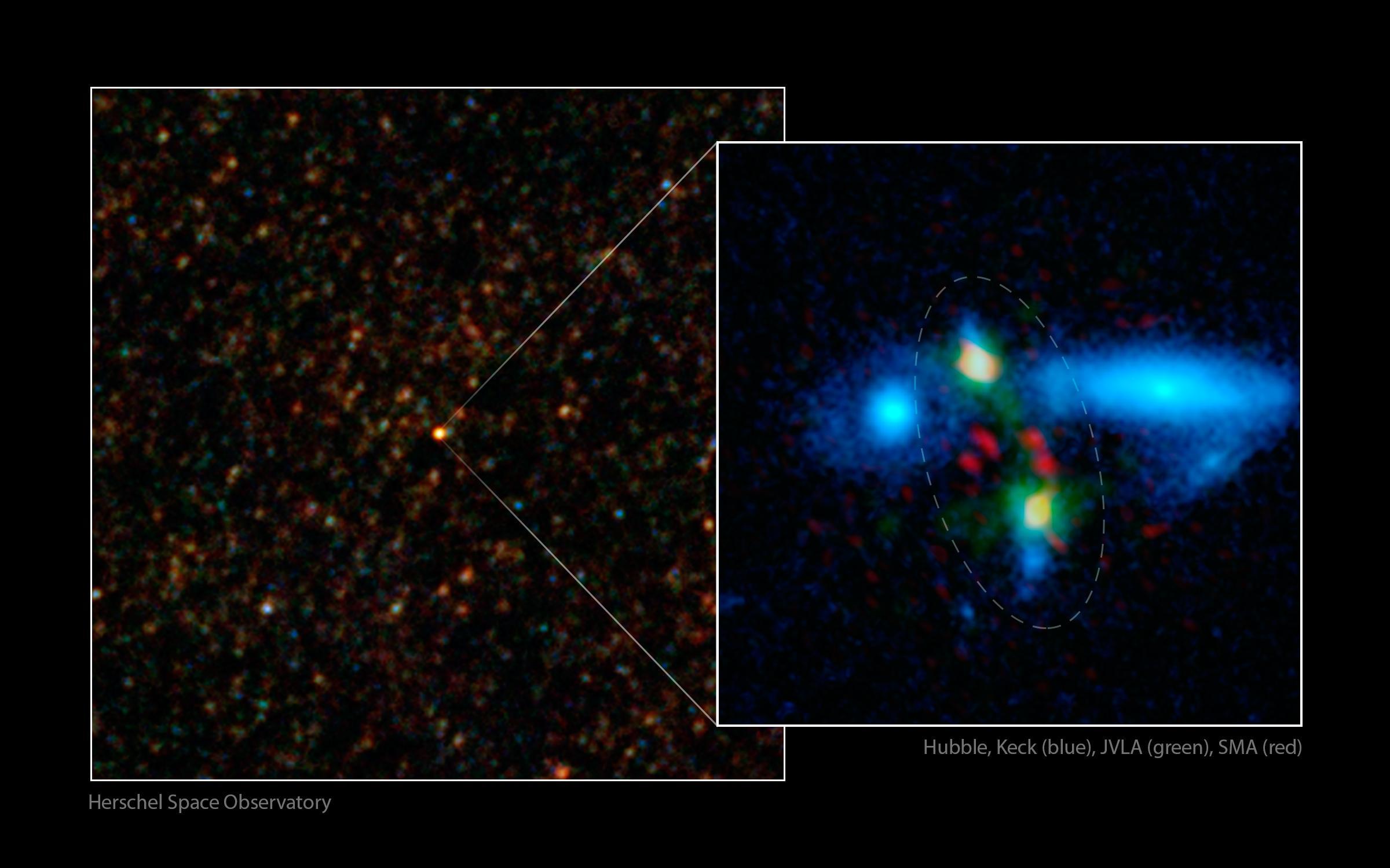 Fusion géante de galaxies découverte par le télescope spatial Herchel