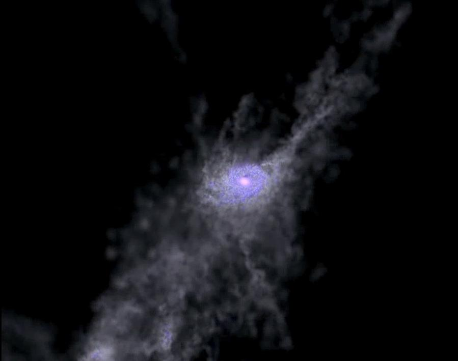 Simulation de la formation de jeunes galaxies