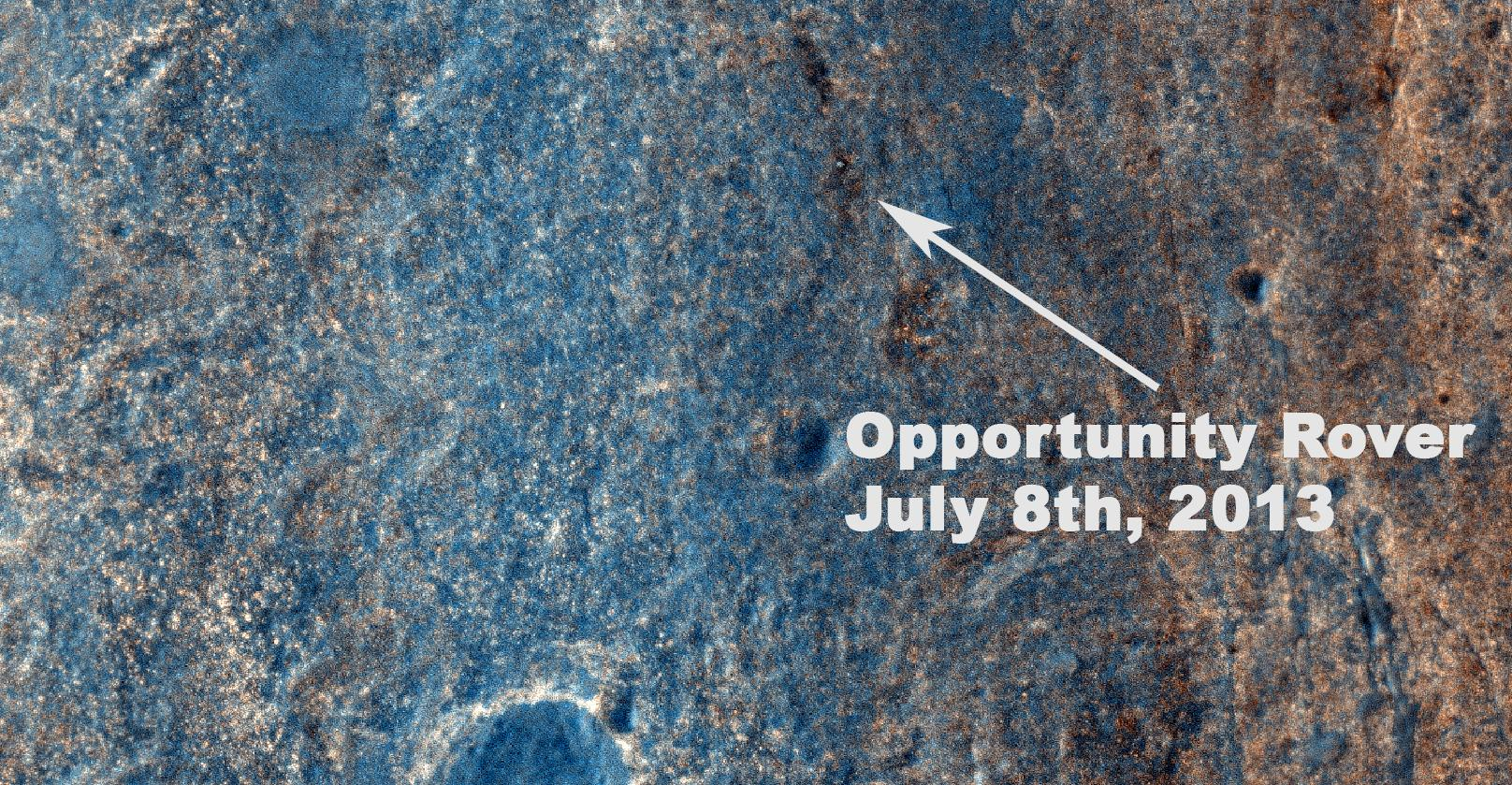 Space Images | Color View From Orbit Showing Opportunity in \'Botany Bay\'