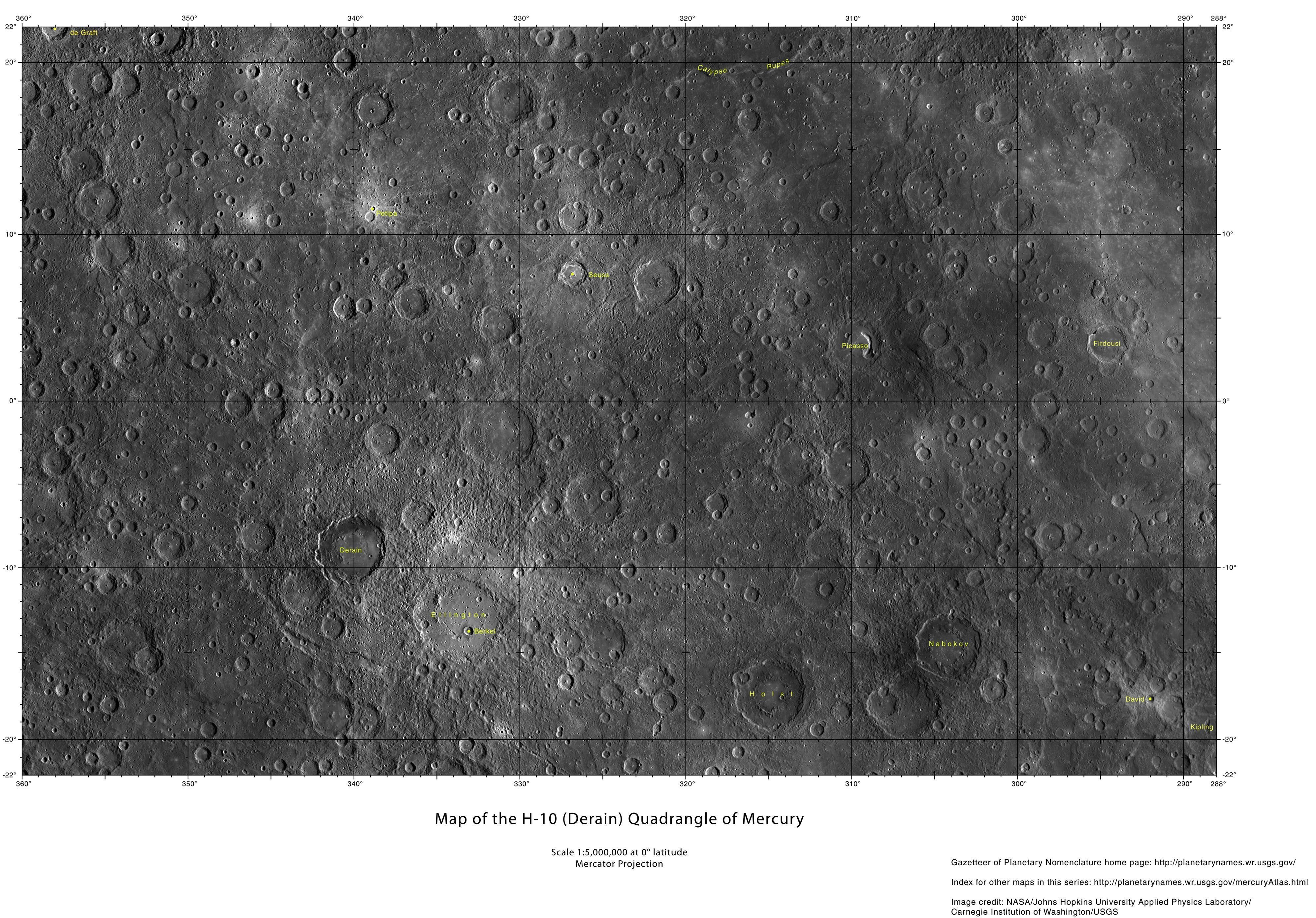 planetary names 15 millionscale maps of mercury - HD 3989×2784