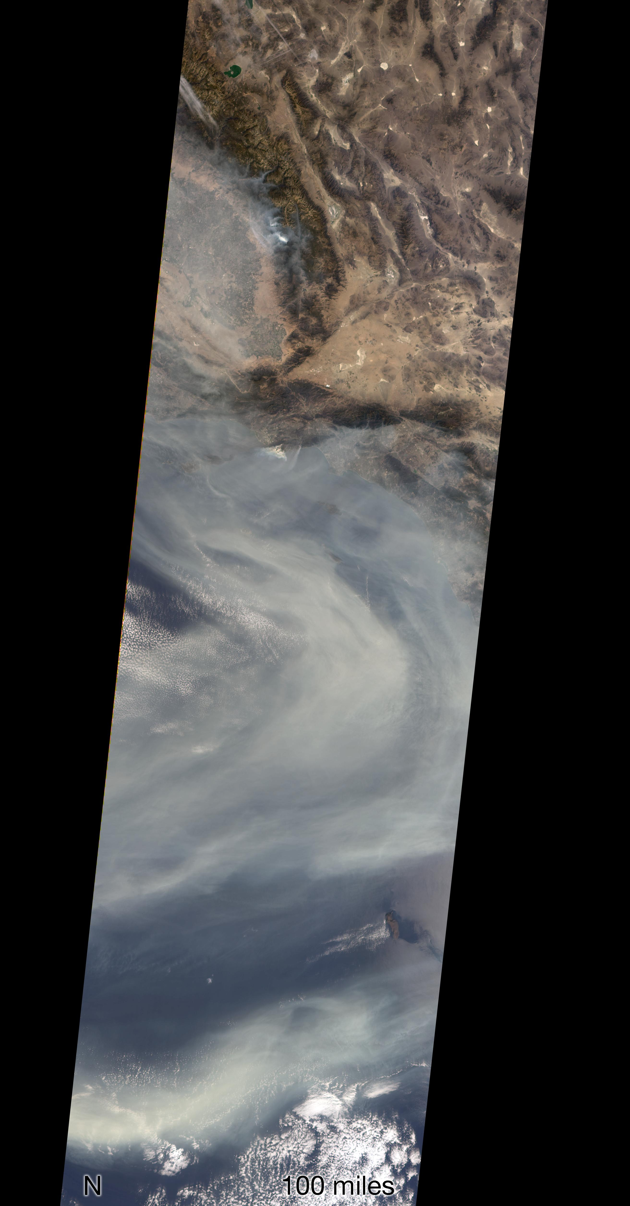 space images nasa s misr sees california s woolsey fire from space