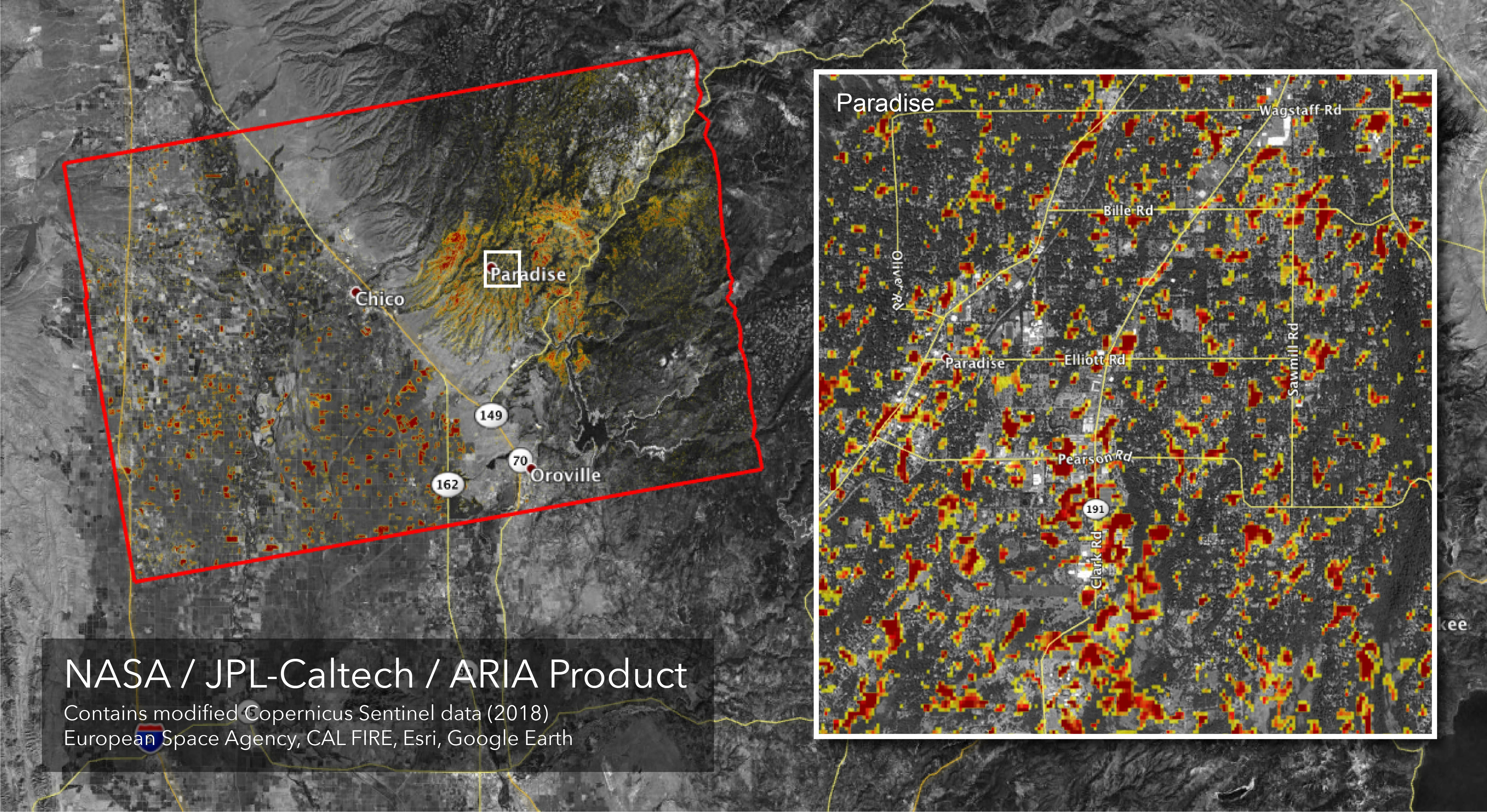 Space Images Updated Aria Map Of Ca Camp Fire Damage