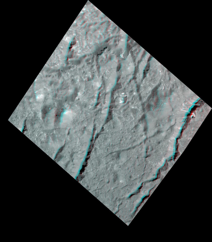 Cracks In The Floor Of Occator Crater 3 D