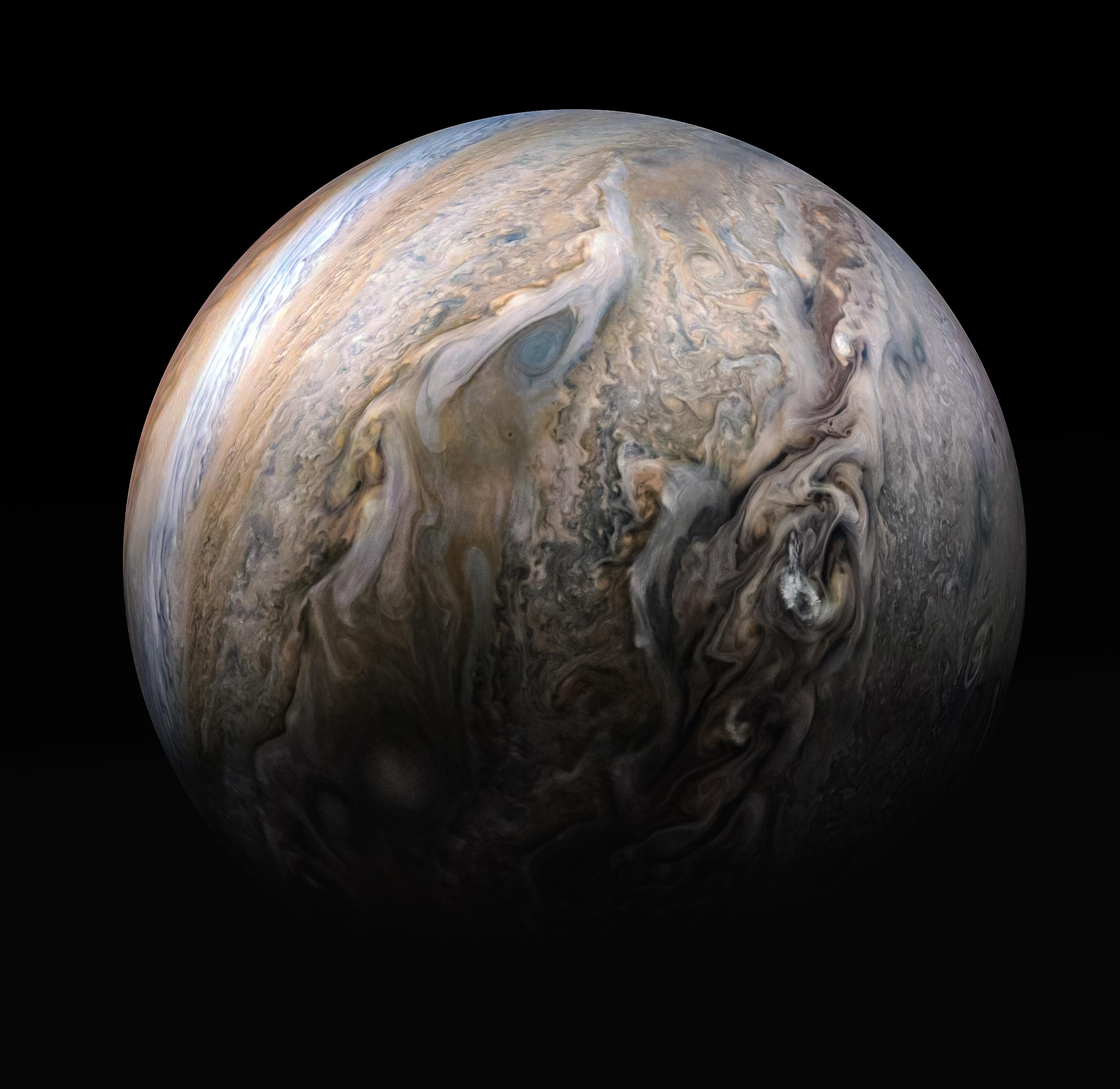This stunning compilation image of Jupiter's stormy northern hemisphere was captured by NASA's Juno spacecraft as it performed a close pass of the gas giant planet. Some bright-white clouds can be seen popping up to high altitudes on the right side of Jupiter's disk. NASA/JPL-Caltech/SwRI/MSSS/Kevin M. Gill