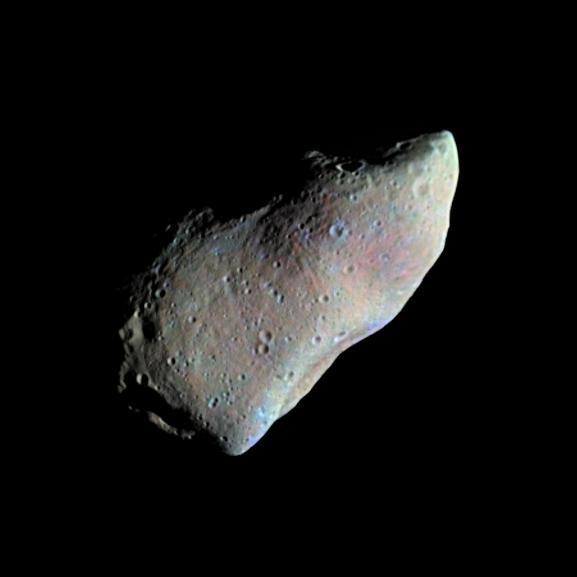 Asteroid Gaspra - Highest Resolution Mosaic (False Color), NASA/JPL image PIA00119_modest.jpg