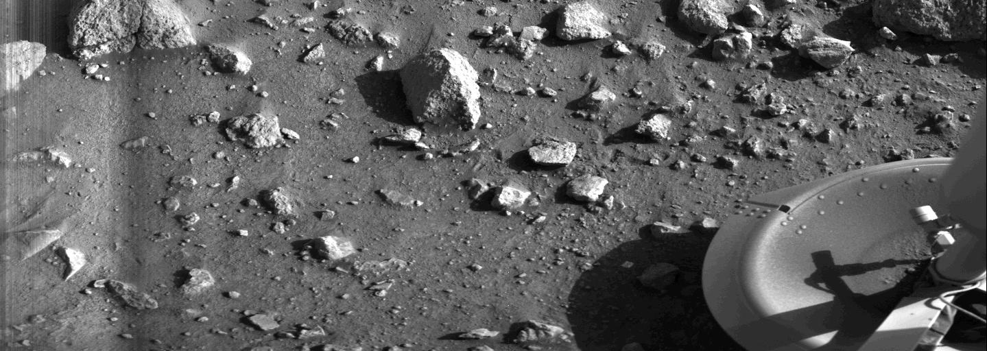 The first image taken by Viking 1 on the surface of Mars, minutes after it touched down. NASA photo
