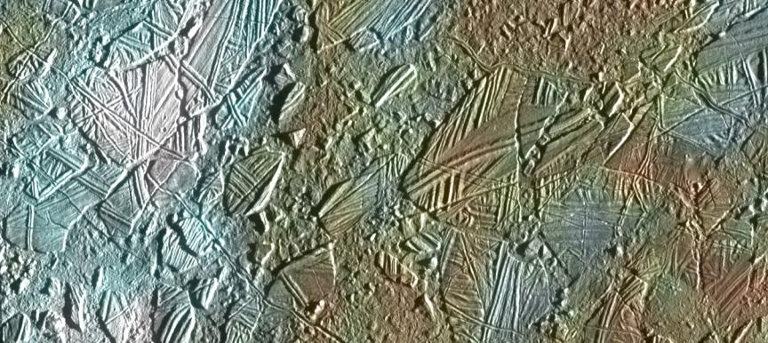 Ice crust in the Conamara region of Jupiter's moon