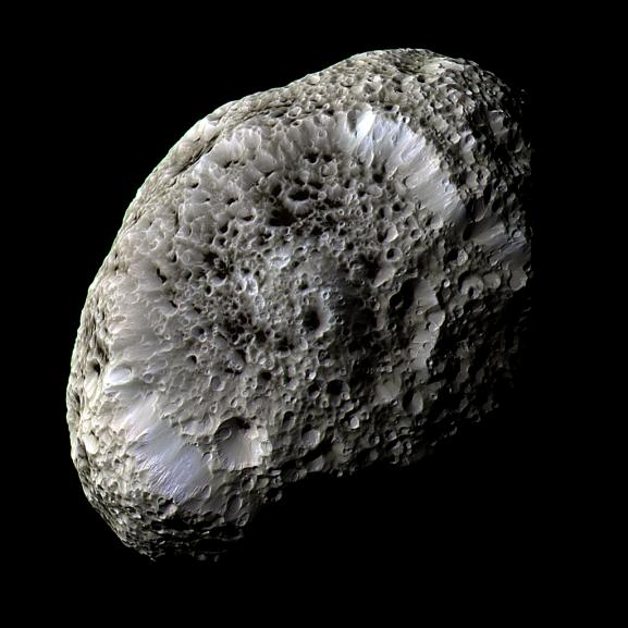 hyperion, with craters